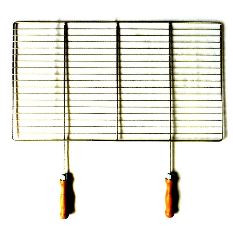 Grilovací rošt - NEREZ - 68 x 38 cm, dřevěná rukojeť