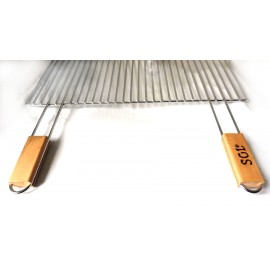 Grilovací rošt - 57 x 30 cm, rukojeť + dřevo