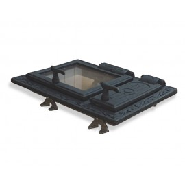 Litinový topný štít se sklem