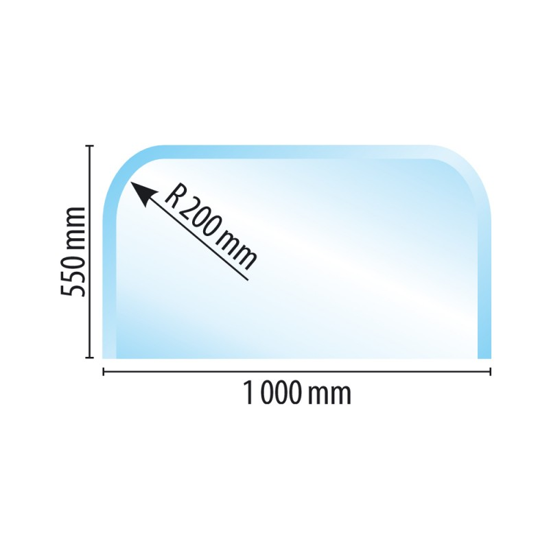 Sklo pod kamna typ M8, 1000 x 550 x 6 mm