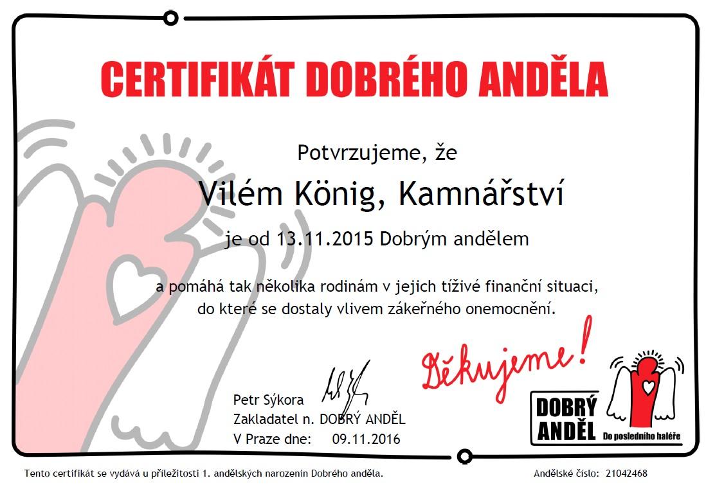 Anděl certifikát